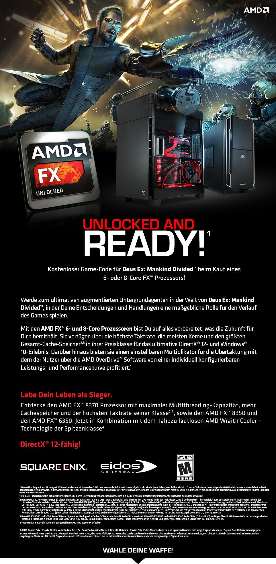 Gaming PCs mit AMD Deus Ex Bundle