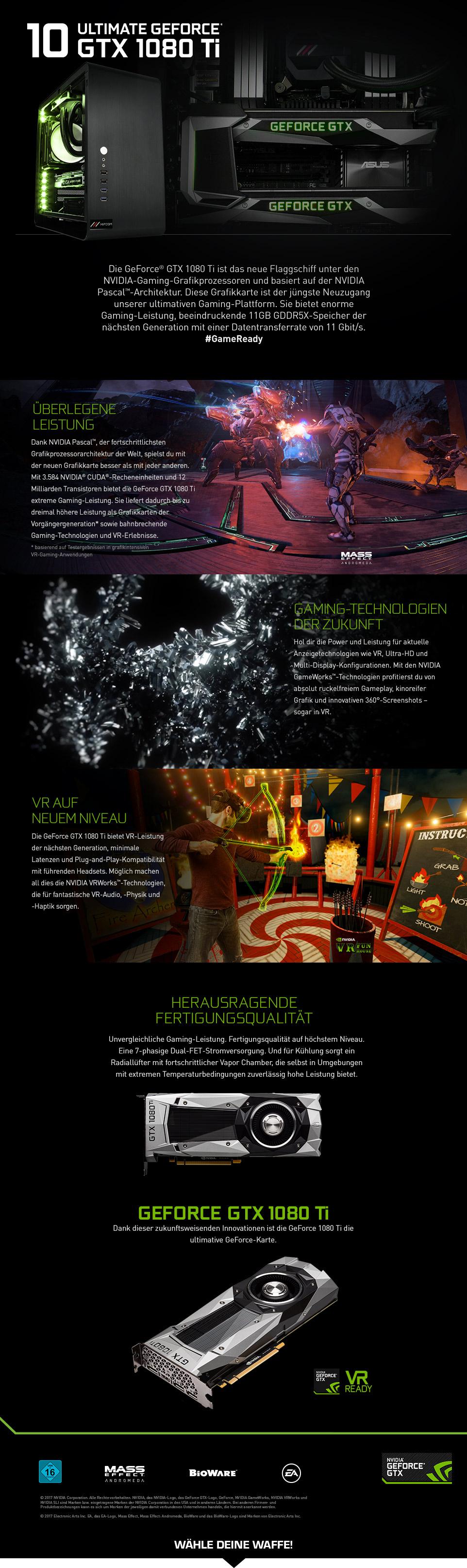 Gaming PCs mit GeForce GTX 1080 Ti