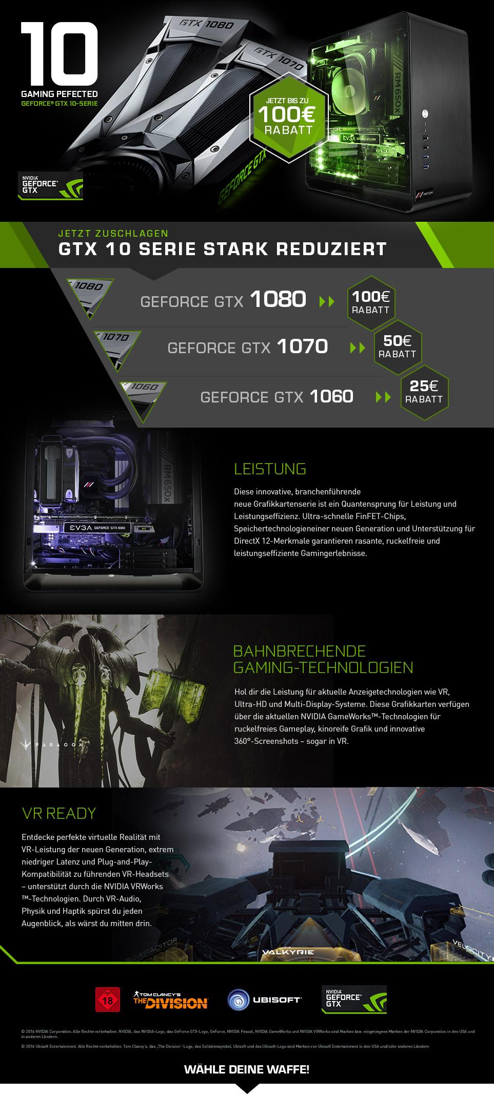 Gaming PC Systeme mit NVIDIA GeForce GTX 10 Series stark reduziert!