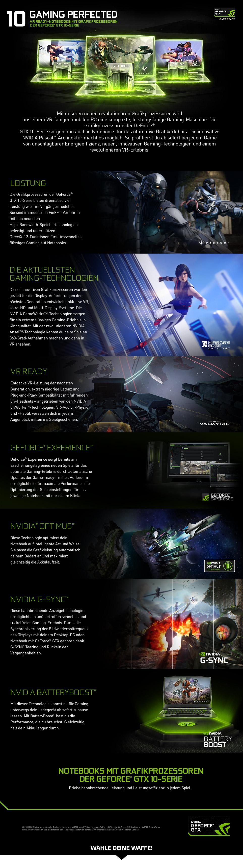 Gaming Notebooks mit GeForce GTX 10er Grafik