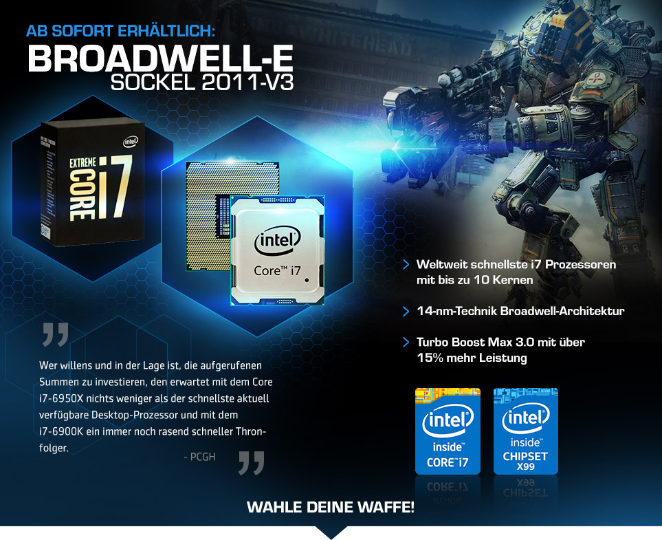Gaming PCs mit Intel Broadwell-E Prozessoren