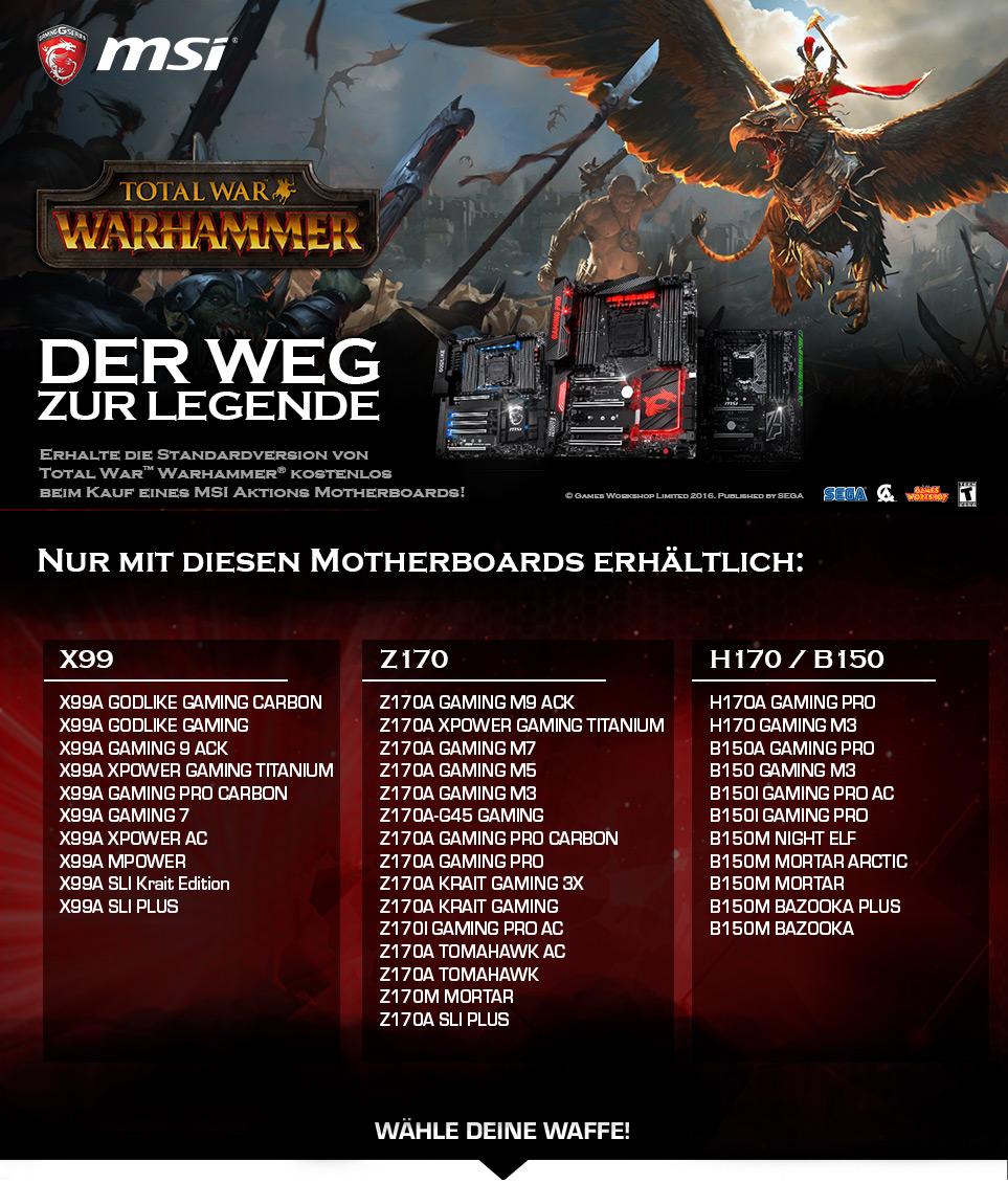 Gaming PCs mit MSI Warhammer Bundle