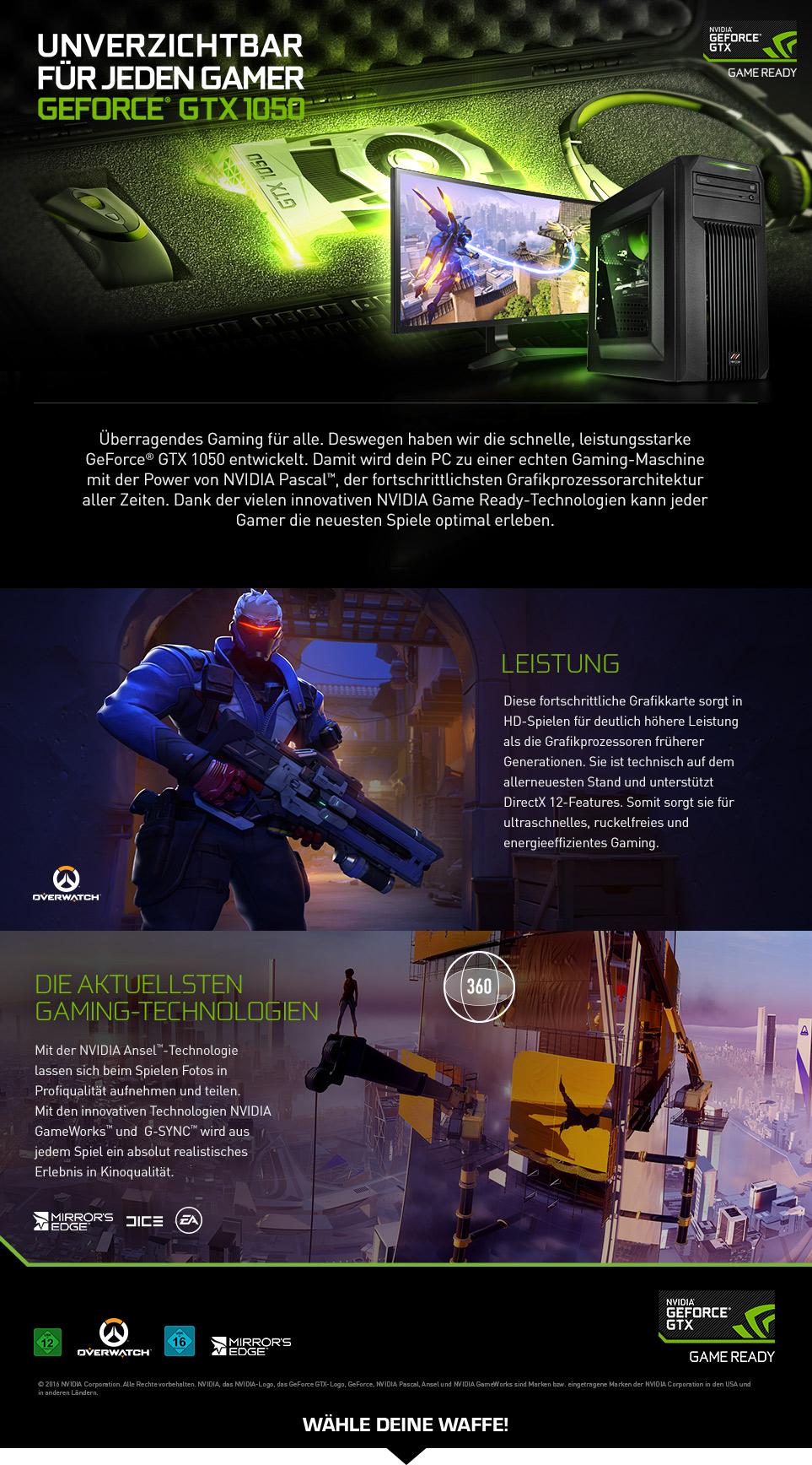 Gaming PCs mit GeForce GTX 1050
