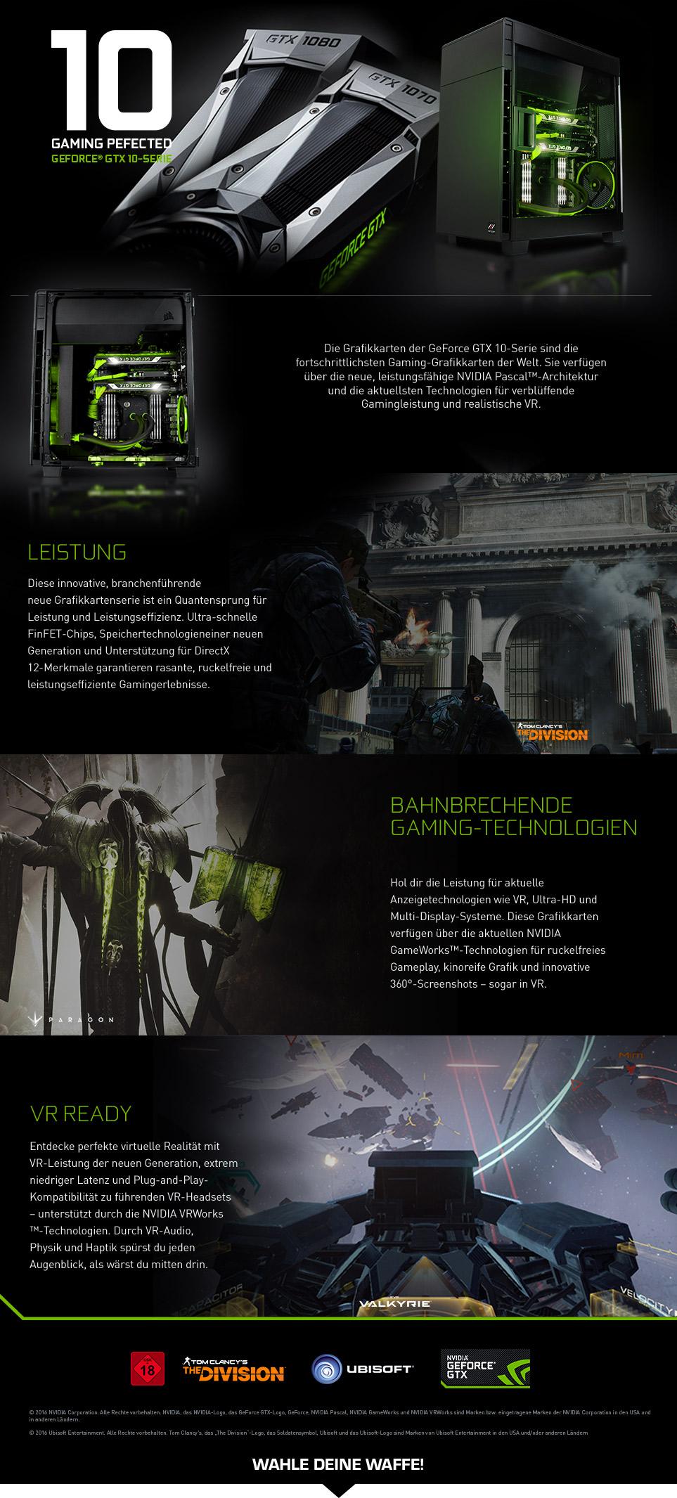 Gaming PCs mit NVIDIA GeForce GTX 1070 und GTX 1080