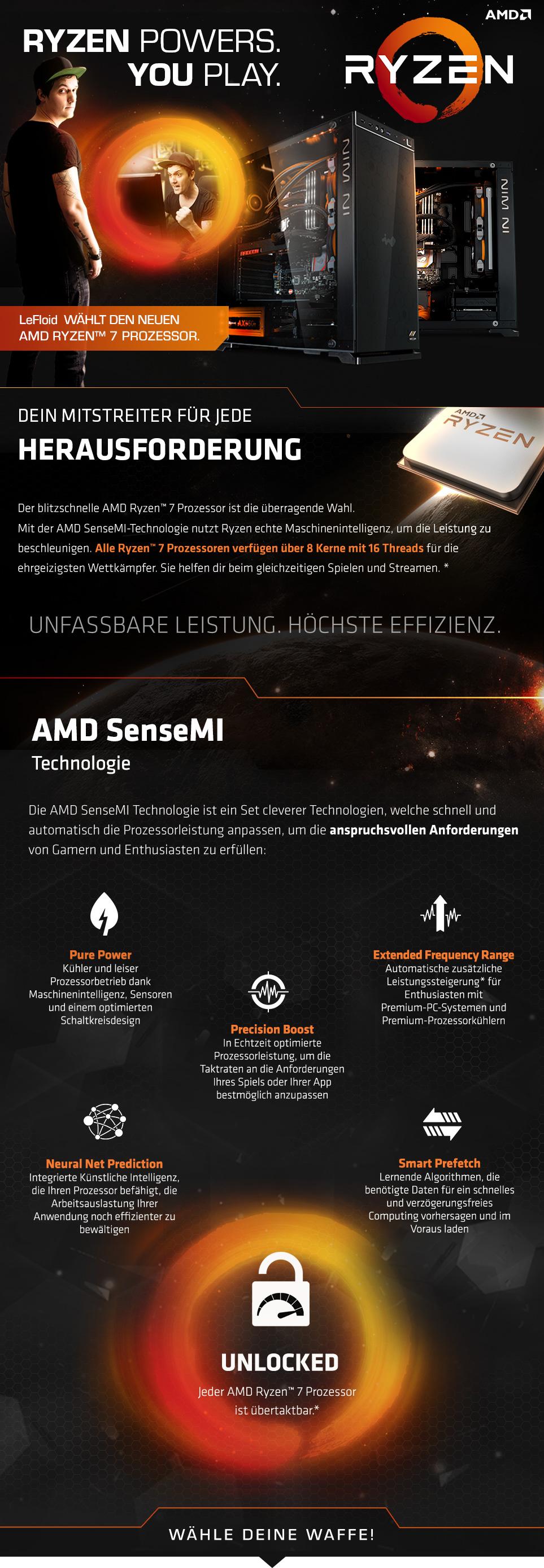 Gaming PCs mit AMD Ryzen Prozessoren