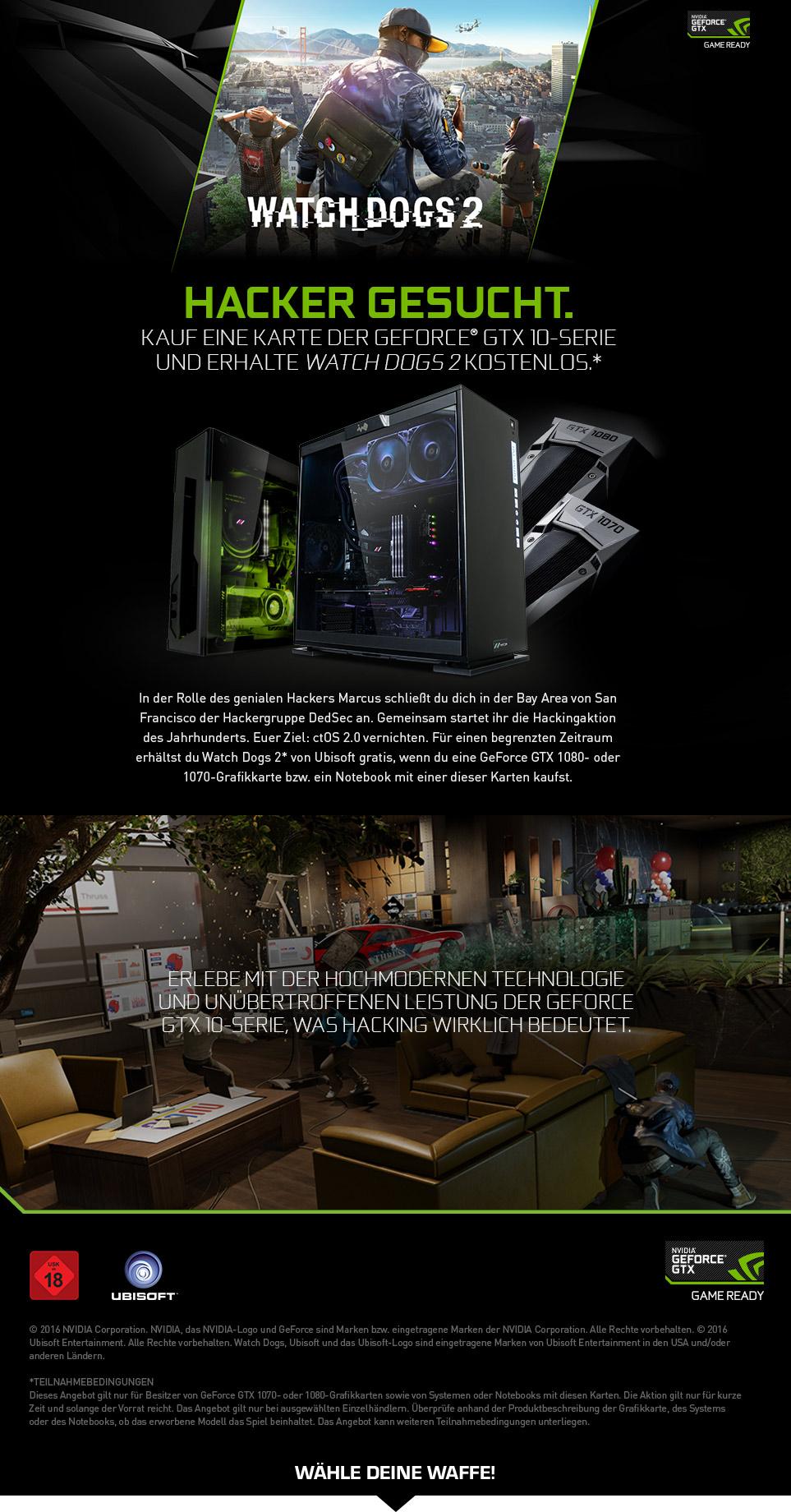 Gaming PCs mit NVIDIA Watch_Dogs 2 Bundle