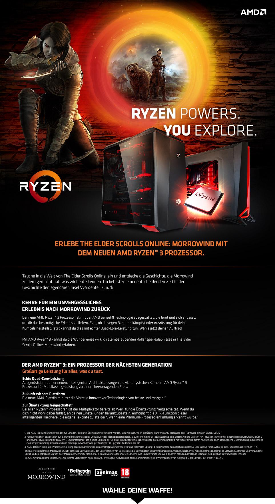 Gaming PCs mit AMD Ryzen 3 Prozessoren