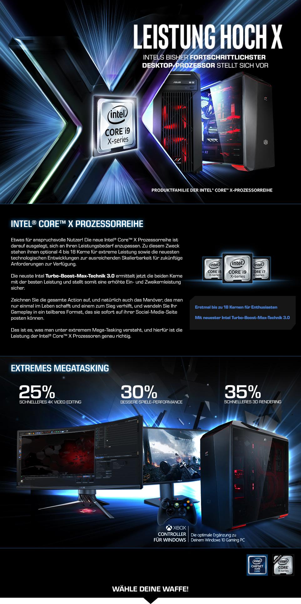 Gaming PCs mit Intel Core X-Prozessoren