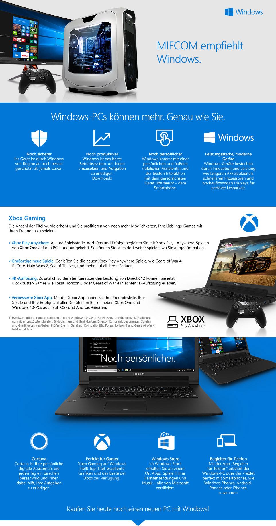 MIFCOM empfiehlt Windows