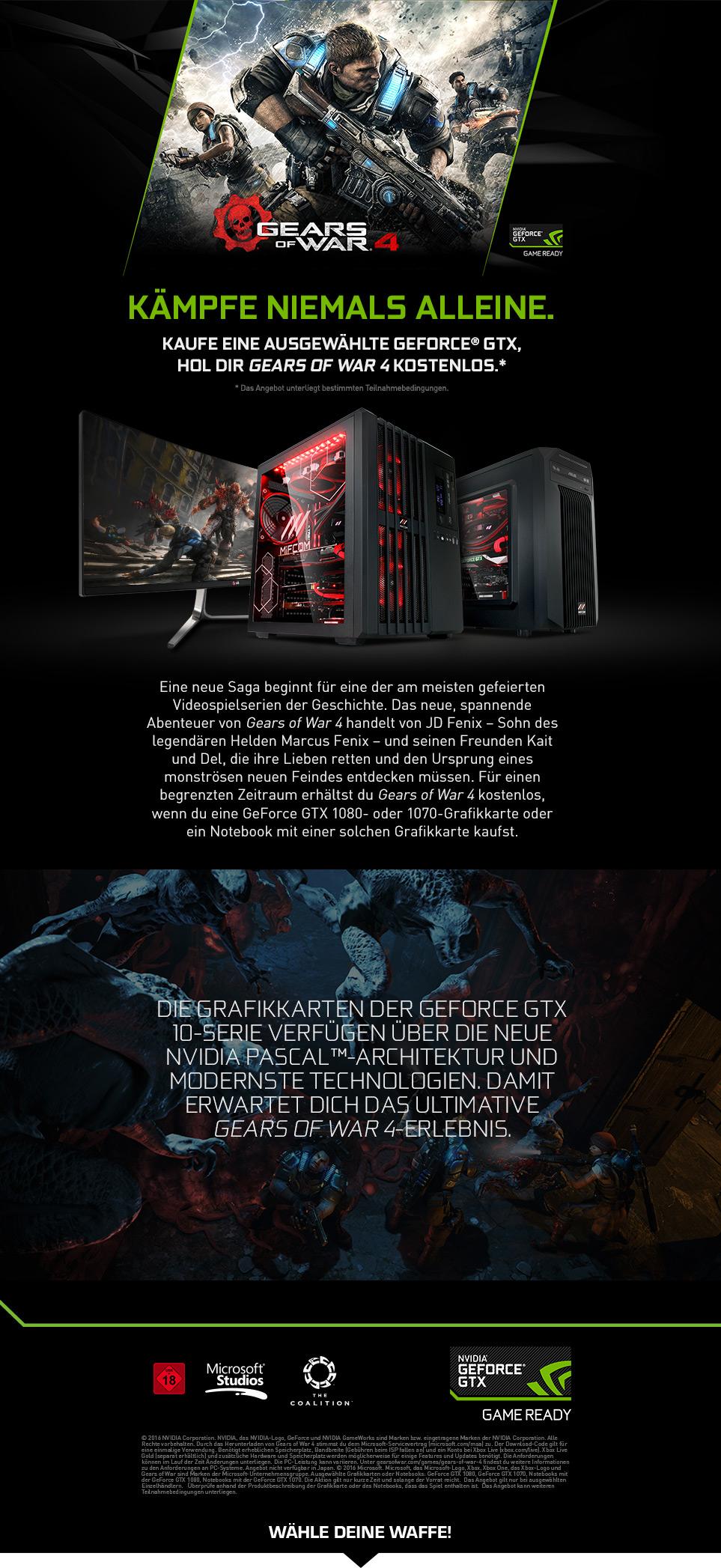Gaming PCs mit NVIDIA Gears of War 4 Bundle